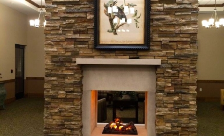Merrillville Memory Care Fireplace by Kwiatkowski Masonry